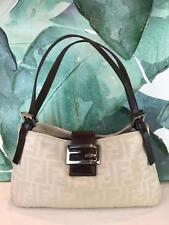$690 FENDI Ivory Zucca Canvas Hobo Shoulder Bag Brown Leather Trim FF Logo SALE!