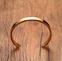 Minimalist Stainless Steel Cuff Bangle Bracelet for Men Gold Satin Finish