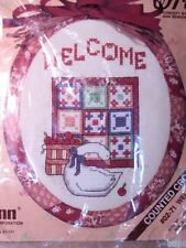 Janlynn  Counted Cross Stitch Kit  w/Rag Wrap Frame #02-71 WELCOME QUILT GOOSE