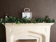 1.5m Pre Lit Natural Christmas Garland Swag Red Berries Eucalyptus Mixed Ivy 1.8