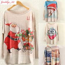 Women's Christmas Batwing Long Sleeve Loose Knit Sweater Knitwear Pullovers LOT