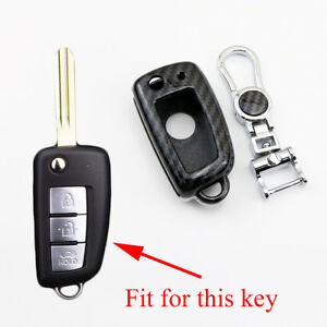 Carbon Fiber Fold Key 2/3/4 Button Key Shell Fob Case Bag For Nissan Accessories