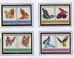 St. Lucia 1985 720-27 Farfalle mnh
