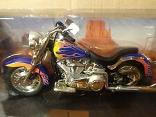 1999 Harley Davidson Softail Motorcycle Hot Wheels 1:10 Blue/orange flames,great