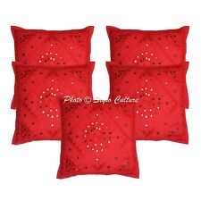 Indian Decorative Sofa Pillow Covers 16 x 16 Embroidered Cotton Cushion Covers
