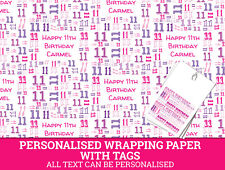 Personalised Happy 11th Birthday Wrapping paper. Pink Gift Wrap with a number 11