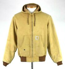 Vtg 1990s Carhartt Distressed Tan Canvas Work Jacket Hood Mens L Not Insulated