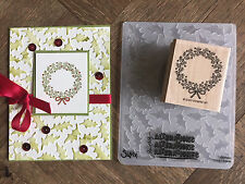Stampin Up retired CHRISTMAS WREATH Stamp & HOLLY LEAVES Embossing folder