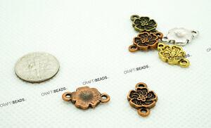 11x18mm Mini Floral Connector Charm Bracelet - Antique Silver Gold Copper Bronze