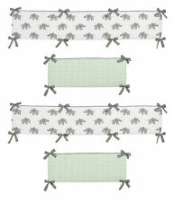 Baby Crib Bumper Pad Mint Grey White Watercolor Elephant Safari by Sweet Jojo