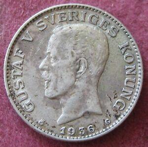 1936 1 Krone Gustaf V Sweden KM#786.2