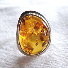 LARGE AMBER STERLING SILVER 925 RING SIZE 7.5 WITH HEAVY INCLUSIONS IN AMBER