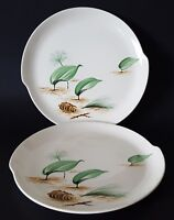 "W S George Half Century Fine Dinnerware Plates Pine Cone Leaves 10"" Set of Two"
