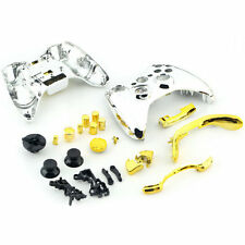 Chrome Silver modded Full Shell Gold Buttons for Xbox 360 Wireless Controller EO