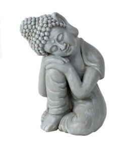 XL 40cm Buddha Figur Groß Holz Stein Silber GARTENDEKO Grau Wetterfest Frostfest