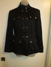 bebe S/M Black Jacket Coat Military Button Down Silver Outdoor Casual CHIC Flaw