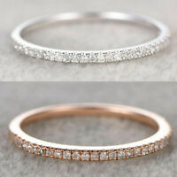 925 Silver Rings Stackable Eternity Rose Gold Plated Wedding Promise Size 6-10