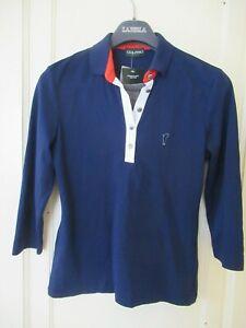 NWT GOLFINO WOMEN'S Navy Blue 3/4 SLV Bubble Jacquard Golf Shirt Polo Top SZ L