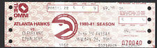 Atlanta Hawks vs Cavaliers January 23 1981 Vintage Unused Ticket