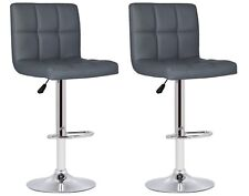 2 Grey Faux Leather Milan Bar Stools Superior Quality Kitchen Breakfast Bar