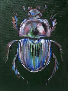 """Scarab Beetle - 3x4"""" - Oil on canvas board (Not A Print)"""