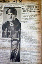 1927 display newspaper RUTH SNYDER MURDER TRIAL Guilty Verdict w DEATH SENTENCE