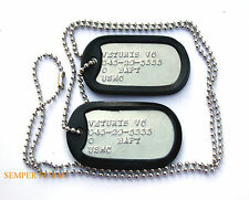 2 AUTHENTIC US MARINES CUSTOM DOG TAGs NECKLACE CHAIN MCRD BOOT CAMP GRADUATION
