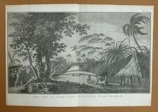 CIMETIERE DANS L'ISLE ou ILE D'AMSTERDAM Gravure Voyage du Capitaine COOK 1778