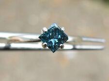 .40ctw NATURAL PRINCESS CUT BLUE DIAMOND RING SOLITAIRE, RESIZEABLE, SPARKLES