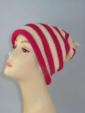KNITTING INSTRUCTIONS- SIMPLE STRIPE ROLL BRIM TOPKNOT SLOUCH KNITTING PATTERN