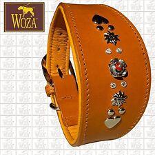 Premium WOZA Greyhound Collar 925 Silver Handmade Full Leather Padded Cow Napa 1