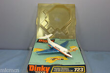 """DINKY TOYS MODEL No.723 HAWKER SIDDELEY HS 125 EXC JET """"BLUE WING VERS"""" VN  MIB"""
