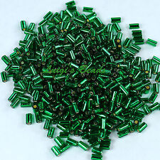 15g Silver-Lined Green Emerald #36 Toho Japanese Glass Seed Beads Bugle #1 -3mm