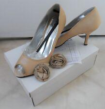 * BNIB Lunar Beige Satin Peep Toe Mid Heels Shoes 6 39 Wedding Occasion *