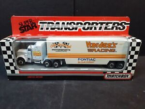 MATCHBOX SUPER STAR TRANSPORTERS--HARDEE'S RACING--1990-UNPUNCHED CARD-