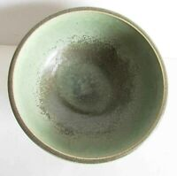 "Handcrafted Signed Green Brown Tan Pottery Bowl 7"" across Zach Delorme FREE SH"
