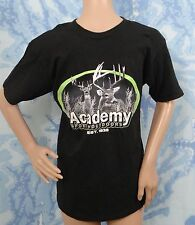 ACADEMY SPORTS+OUTDOORS black w reindeer graphic short sleeve T-shirt,size S
