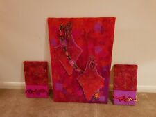 Wool Felted Colorful Bahia Artistic Picture Trio Red and Pink