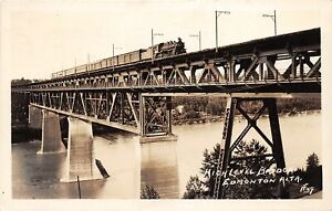 H72/ Edmonton Alberta Canada RPPC Postcard c30s High Level Railroad Bridge 89