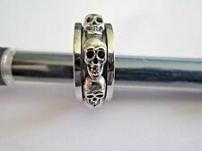 NEW WILDTHINGS SPINNER GHOST SKULL RING STAINLESS STEEL SIZE 11 MADE IN US BIKER