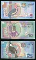 2000 Lot of 3 Suriname Banknotes 5, 10, 25 Gulden Colorful Tropical Birds UNC++