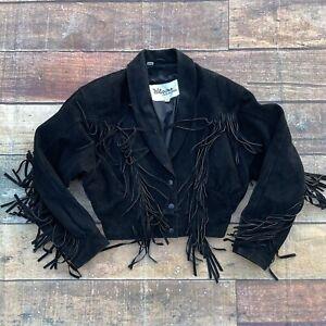 Vintage Wilsons Suede Leather Fringe Motorcycle Cropped Jacket Size Medium Black