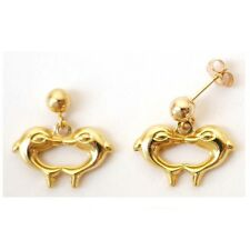 """14K Solid Yellow Gold 3D Kissing Dolphin Dangle Earring. Length: 5/8"""" E509-10"""