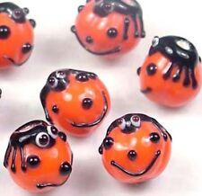 Lampwork Handmade Glass Pumpkin Girl Halloween Beads (8pc)