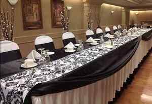 15 Damask Table Runner 108x12 Inch Flocked 3D Velvet Party Event Wedding *SALE*