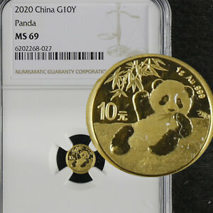 2020 China 1g Gold G10Y PANDA NGC MS 69