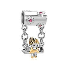 22k Gold Rose Pink Mother Pandora Swings Charm Bracelet Flower Bead Jewelry