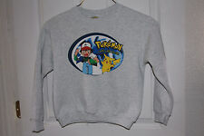 Vintage Pokemon Sweatshirt Youth Large Grey Pikachu Ash Ketchum