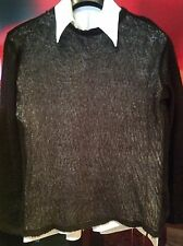 COSTUME NATIONAL - COUTURE BLACK LIGHTWEIGHT HAND KNIT SWEATER - SIZE 54 L/XL