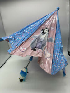 New Shaw Happy Feet Children's Pink & Blue Folding Umbrella Penguin Handle